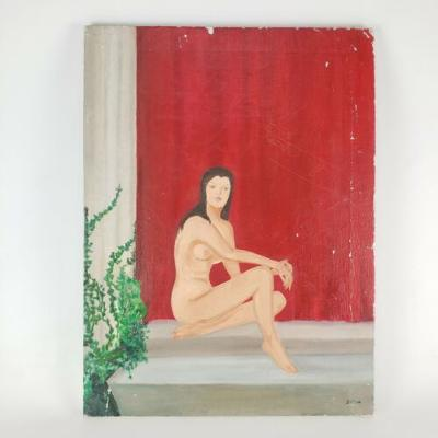 """Vintage Painting Nude Woman Lady by Silva 24""""x18"""""""