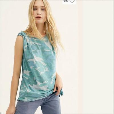 FREE PEOPLE We The Free Camo Tee Loose Knit Teal Combo Small S $68 NWT OB814952