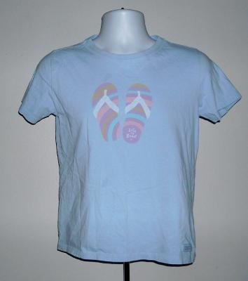 WOMENS LIFE IS GOOD FLIP FLOP T SHIRT SMALL BABY BLUE
