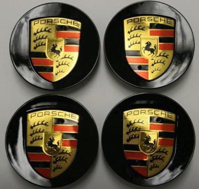 Gloss Black Porsche 76mm Wheel Centre Caps x4 for Boxster 911 Cayman Boxster