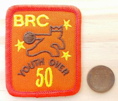 Vtg BRC Youth Over 50 Patch-Brunswick Bowling-Crown-Orange-Rare-80's-Indoor Sprt