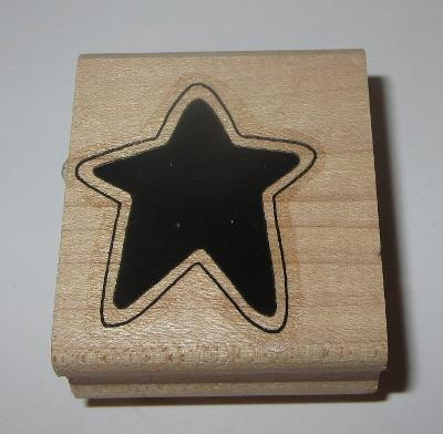 Star Rubber Stamp Stampin Up With Outline Wood Mounted