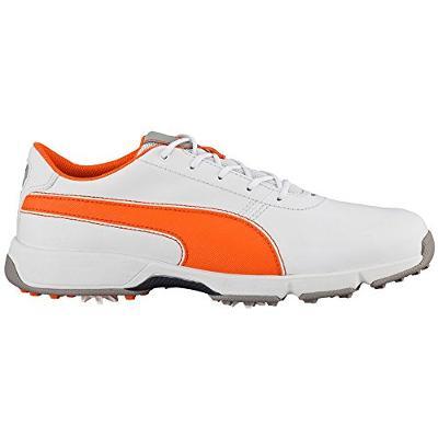 PUMA Titan Tour Jr Womens Golf Shoe - White/Vibrant Orange US 5