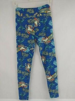 Lularoe One Size Leggings Blue With Long Tail Tropical Bird & Floral Design