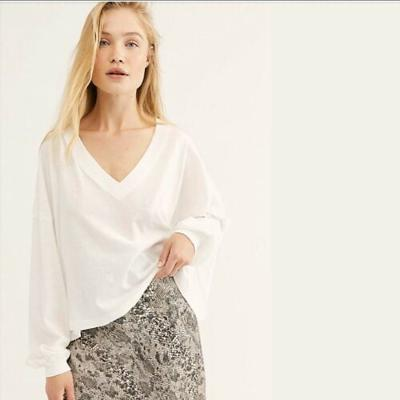 Free People We The Free Buffy Tee Painted White Large L NWT $58 OB993128