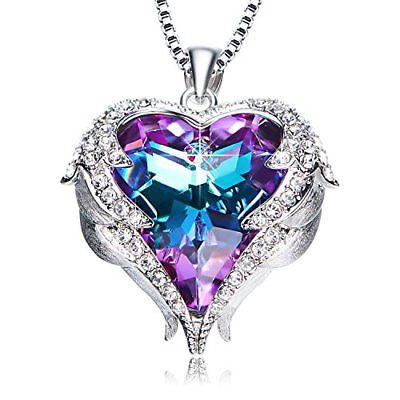 Valentines Day GIFT Purple Heart Crystal Pendant Necklace for Women Wife LOVE