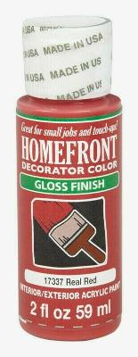 Homefront Decorator Color GLOSS REAL RED Hobby Paint 2 oz Interior Acrylic 17337