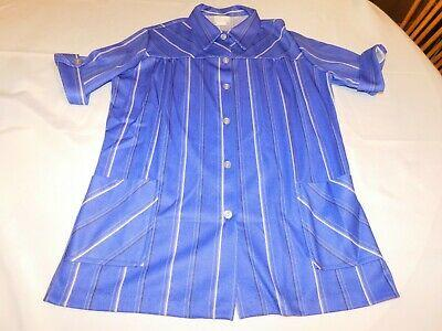 Lind Clare Ladies women's Short Sleeve Button Up Blouse top shirt Blue Size 36