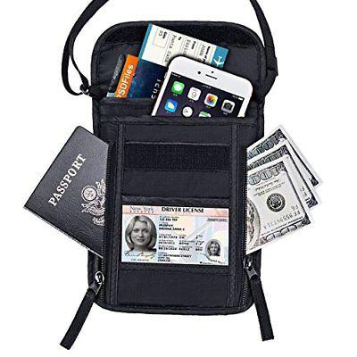 Passport Holder FREETOO RFID Neck Stash Travel Wallet Pouch for Security Black