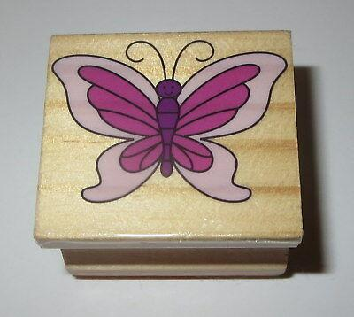 Butterfly Rubber Stamp Wings Antenna Butterflies Wood Mounted #3