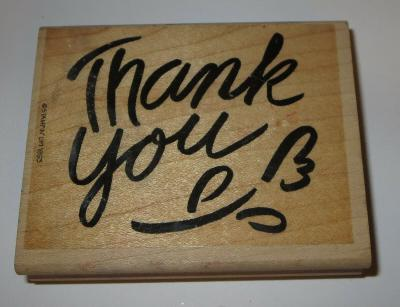 """Thank You Rubber Stamp Flower Stampin Up 3 3/4"""" Long Retired Wood Mounted"""