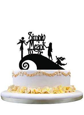 Jack and Sally Simply Meant To Be Wedding Cake Topper,Jack and Sally cake topper