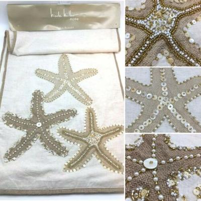 Nicole Miller Starfish Beaded Table Runner Beach Summer Tan Gold Mother of Pearl