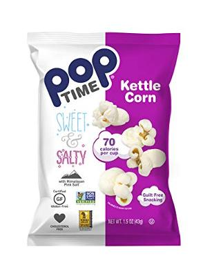 Poptime Kettle Cooked Popcorn - Sweet & Salty,1.5oz Bags (24 Pack), Non-GMO, Gl