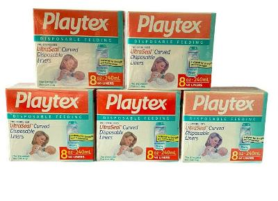 200 Playtex 8oz Pre-Sterilized UltraSeal Curved Disposable Liners 5 Boxes NEW