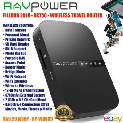 RAVPower FileHub - Wireless Router Card Reader Portable Hard Drive Cloud Storage