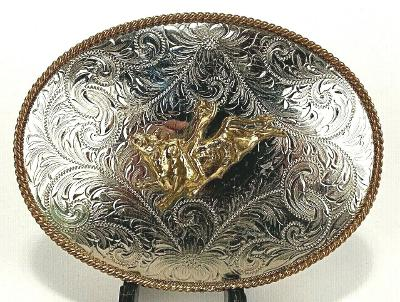 German Silver - MONTANA SILVERSMITHS Etched Filigree Rodeo Bull Belt Buckle