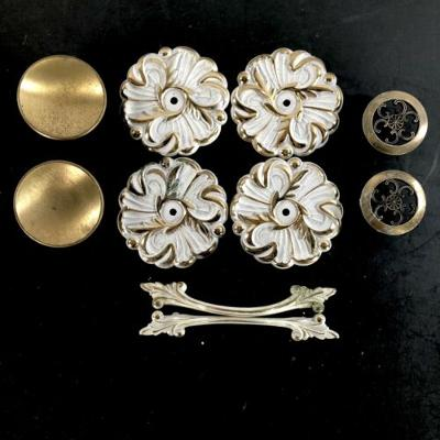 Drawer Cabinet Pulls Backplates Mix & Match White Gold Metal Vtg Mid Century