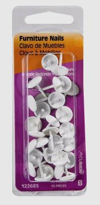 HILLMAN #210 Upholstery Tacks Furniture Trim Nails White Leatherette 122685 NEW!