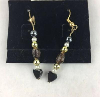 Hematite Heart Stone Bead and Brown Stone Handmade Dangle Earrings 2""