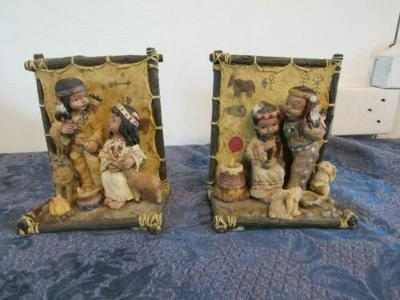 Pair Native American Indian Children Bookends Heavy Resin Bunny Deer Wolf