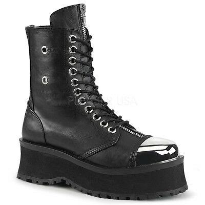 Grave Digger 10 Black Chrome Toe Plate Lace Up Ankle Boots Men US 4-13 Goth