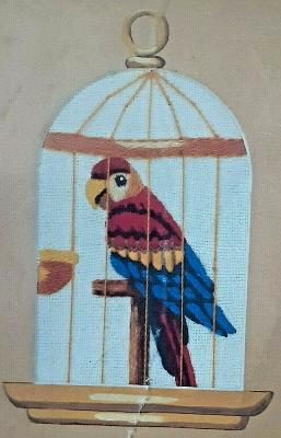 """Parrot In Cage Crewel Concepts Embroidery Kit #2406 9"""" by 12"""" 1983 Sealed New"""