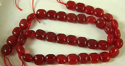 """Bead Strand Bright Red Transparent 10 mm Pillow Shape Make Your Own Jewelry 16"""""""