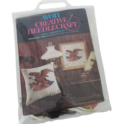Avon American Eagle Crewel Embroidery Pillow Picture Kit Vintage Opened Kit