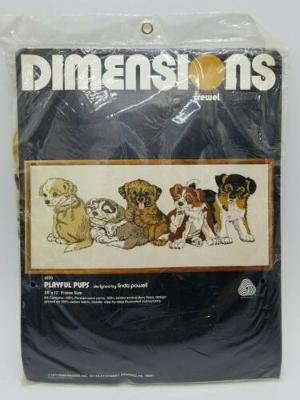 """Dimensions Crewel """"Playful Pups"""" Linda Powell 28x12 1977 Embroidery Kit 1070 NOS"""