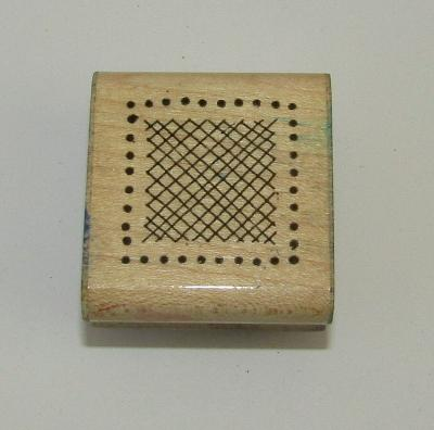 Crosshatch Square Rubber Stamp Dots Box Wood Mounted 1.5 Inches