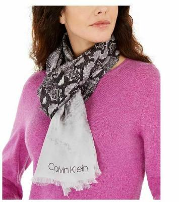 Calvin Klein Ombre Snake-Print Scarf Silk and Modal Blend Pink and Black