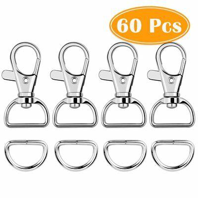 NEW Paxcoo 60Pcs Key Chain Hooks with D Rings for Lanyard and Sewing Projects
