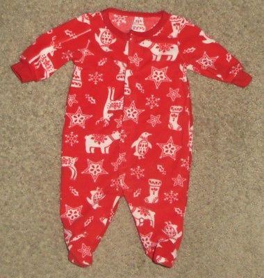 Carter's Red Christmas Snowflake Reindeer Footed Sleeper Pajamas NB Newborn