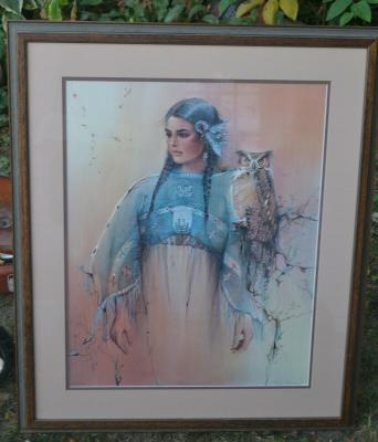 Vintage Wooden Framed Picture Sioux Woman By Marie Buchfink 1988 415/950