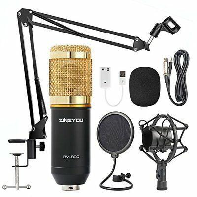 Microfono para Estudio de Grabacion BM-800 Kit de Mic Ajustable Shock Mount GOLD