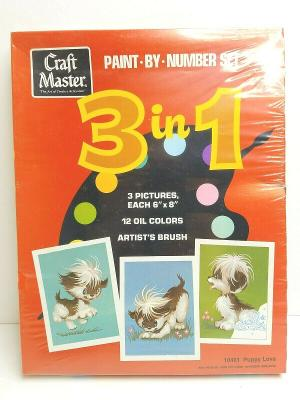 Craft Master 3 In 1 VTG Paint By Number Puppy Love 70s Retro 3 Art Pictures NEW