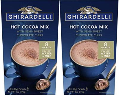 Ghirardelli Hot Cocoa with Semi-Sweet Chocolate Chips - 2 boxes with 8 packets