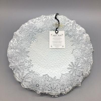 x6 Akcam Turkish Glass Snowflake Dessert Plate Set Frosted Silver Christmas 8