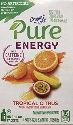 Crystal Light Pure Energy Tropical Citrus Drink Mix, 6 On-the-Go Packets (Pack