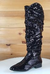 CR Black Sequin Pointy Toe Slouchy Wider Calf Flat Boot US Siz...