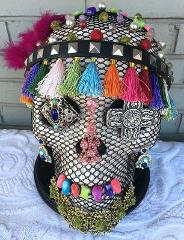 Jeweled Skull Day of the Dead Carmelita OOAK Art Piece Pedesta...