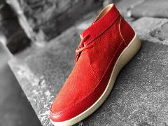 Johnny Famous Bally Style Central Park Men's Red Suede Chukka ...