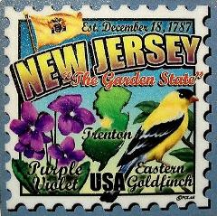 New Jersey the Garden State Artwood Postage Stamp Fridge Magnet
