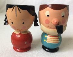 2 Vintage Wooden Egg Cup Coddlers Sevi Italy Hand Painted Turn...
