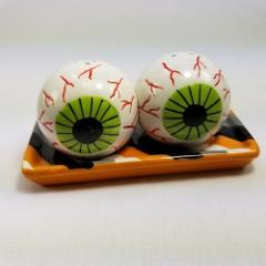 Halloween Eyeballs Salt Pepper Shakers Ceramic Magnetic Stripe...