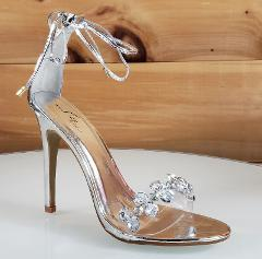 Top Show Silver Tie Up Crystal Toe Strap 4