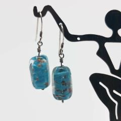 Sterling Silver Aqua Somerso Bead Earrings
