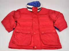 NAUTICA Puffer COAT Youth RED Blue DUCK Down ZIP Snaps STRIPE ...