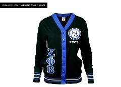 ZETA PHI BETA Black Blue Light weight Long Sleeve Cardigan swe...
